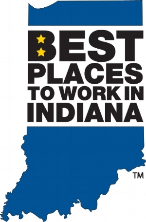 Best place to work in Indiana over blue silhouette of the state of Indiana.