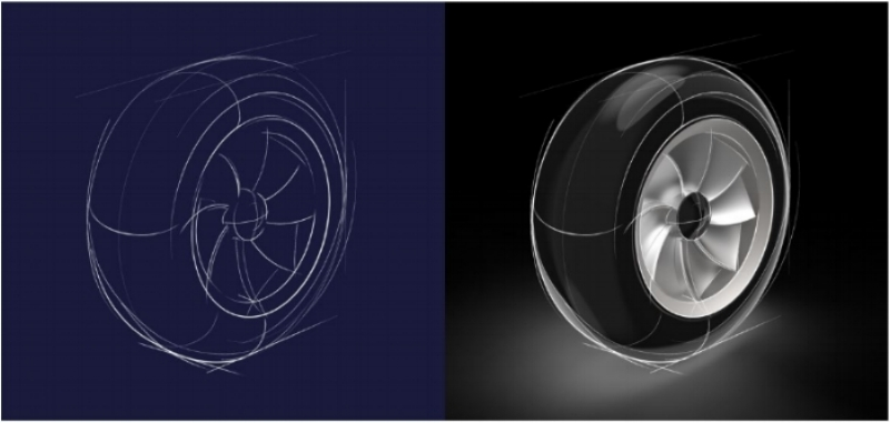 Product design renderings of a tire