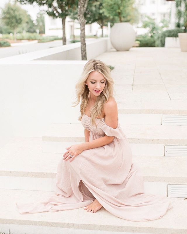 Oh heeey! 👋🏻 This is me, you know, just doing my usual- posing barefoot in a long flowy gown on a random patio looking as  demure as I possibly can. 🤣 Ya'll, five minutes later my hair totally fell and it started to rain and we laughed all the way to the car! Thank you to my photog besties ♡ @coreyjohnsonphotography ♡ for capturing this and ♡ @lindseyrogers_photography ♡ for letting me borrow this beautiful dress from her studio wardrobe.  It's a little scary but fun to be on the other side of the camera every now and then! #fridayintroductions