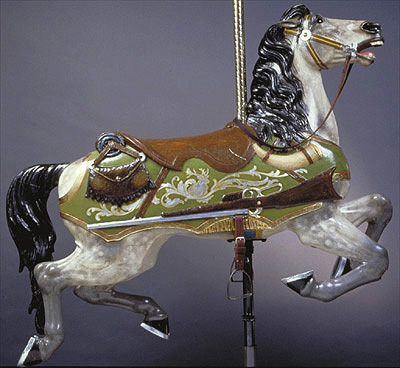 The Rifle Horse Available for adoption It's difficult to see in the photo, but an elk amid the silver leaf scrollwork carries out the hunting theme on this horse.