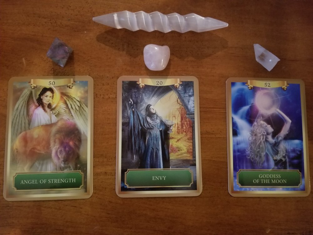 Oracle Monday 1/22/18 REVEALED - Angel of Strength, Envy & Goddess of the Moon - Energy Oracle Deck - Sandra Anne Taylor