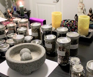 Hedge witch spells, herbs, candles, attraction oil