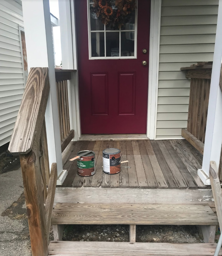 BEFORE, but with freshly painted front door!