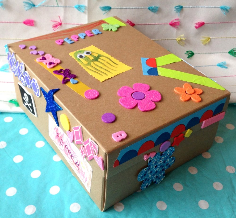 Box o' Treasures-ages 4 and up - It's time to get crafty yaaaaar highness!  In this class kids will design their own treasure boxes using decorative papers, fabrics, washi tapes, stickers, sparkles, pompoms and much more!  Special bonus craft: design a tiara or pirate hat, crafter's choice!