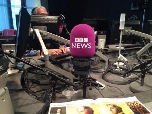 Very Purple Mic in BBC World service studio