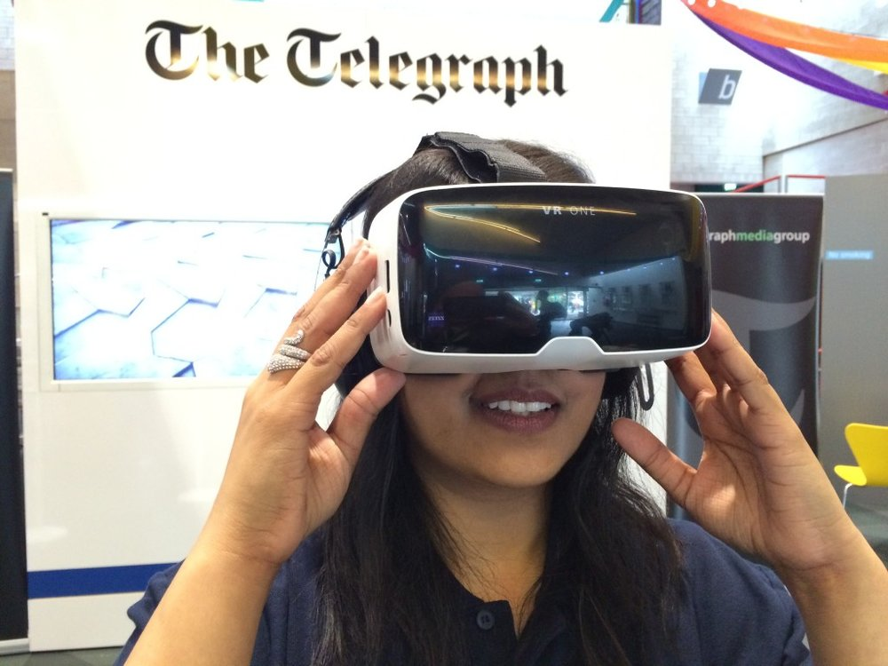 The Zeiss VR One in action on 'The Telegraph' stand the Warwick Universities 'Festival of the Imagination'