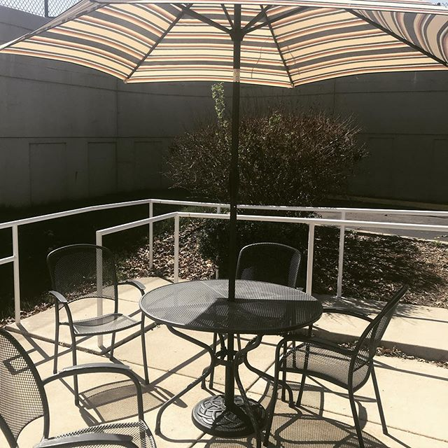 It's officially summer & our outdoor seating is up! Grab lunch outside under our new umbrella!