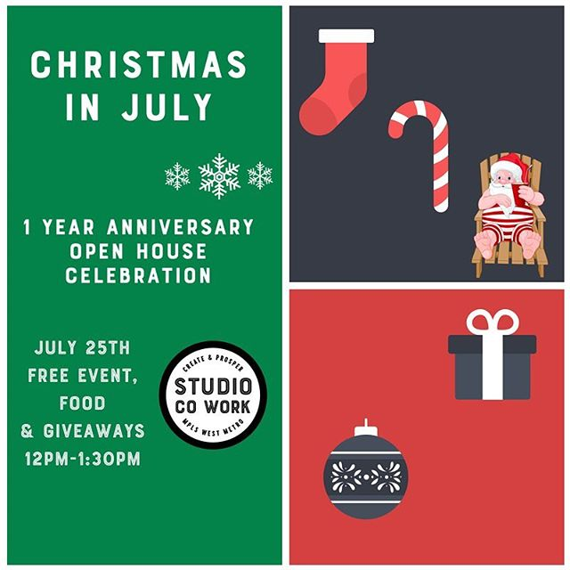 Come celebrate with us for our one year anniversary! Next Wednesday a free lunch & giveaway! Christmas in July is the theme & there will be lots of time for networking! Grab a free ticket on eventbrite!