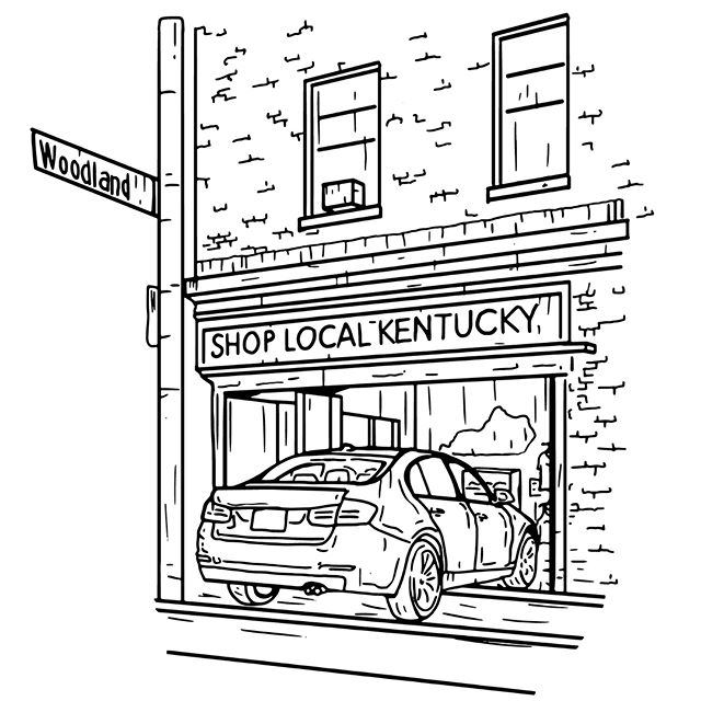 My friends over at @shoplocalky had a bit of an interesting night yesterday. A car crashed through their shop! Luckily no one was hurt but their retail location is closed while they quickly rebuild and clean up. To make the best of the situation, they decided to design a limited edition tee. They are donating 100% of the proceeds to the Kentucky Fallen Officers Fund in honor of the first responders that helped them out. Get one today at TheKyShop.com. Their team came up with the concept, slogan, and printed the shirts. I illustrated/designed the scene in this piece. The photo came from their instagram, go follow them!