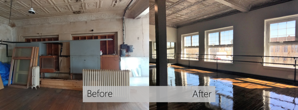 The Edge Performing Arts Centre - Before and After of the Ballet Studio