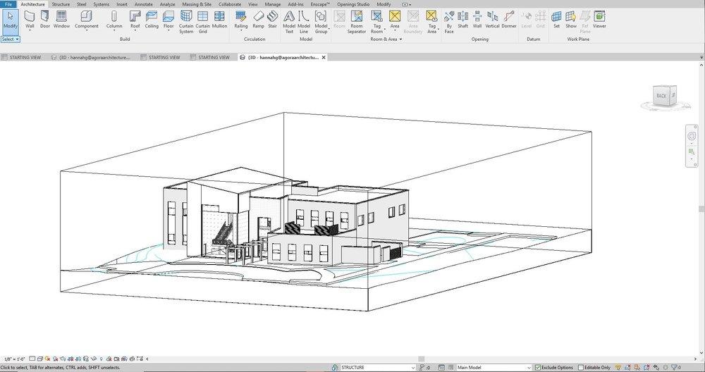Screenshot of 3d working view of Revit model