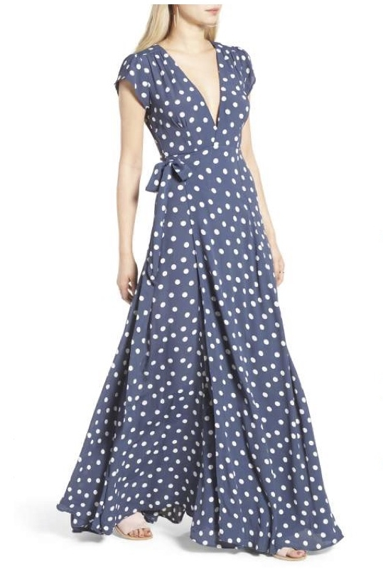 A few years ago I fell in love with Tularosa, their designs, patterns, materials. This wrap maxi with polka dots is a must have for your summer wardrobe.