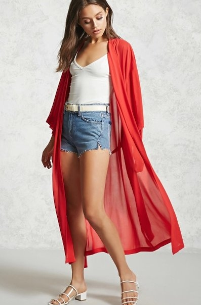 I was looking for a simple kimono to add some color to an all white outfit and found this at Forever 21. Light, simple, great fit and a true blue red. I feel like I have on my Super Women Cape.