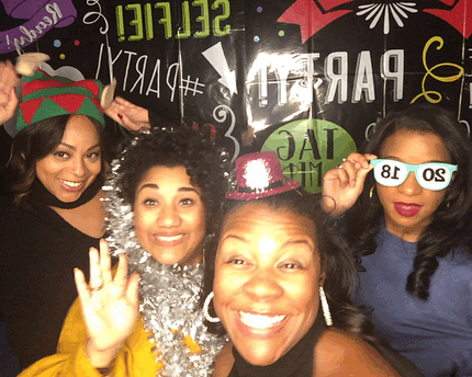 So I don't know if the photo booth was completely for me and my girls but I sure turned out that way. I have known an been friends with these ladies for over 20 years! #WeGettingOld #photoboothfun #holidayparty #goodbye2017