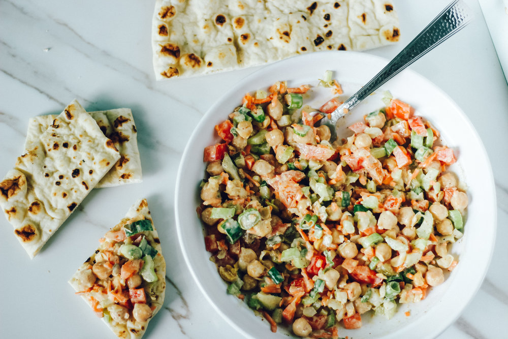 Chickpea salad meal prep 3 ways