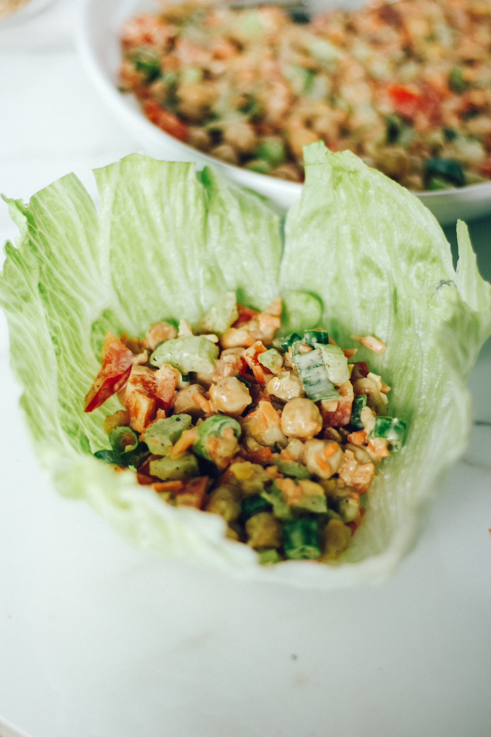 Healthy Chickpea salad meal prep 3 ways - Lettuce wraps [Live Well and Grateful]