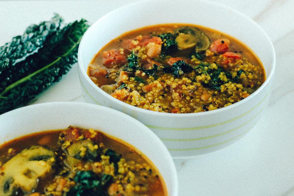 Southwestern Kale and Quinoa Soup