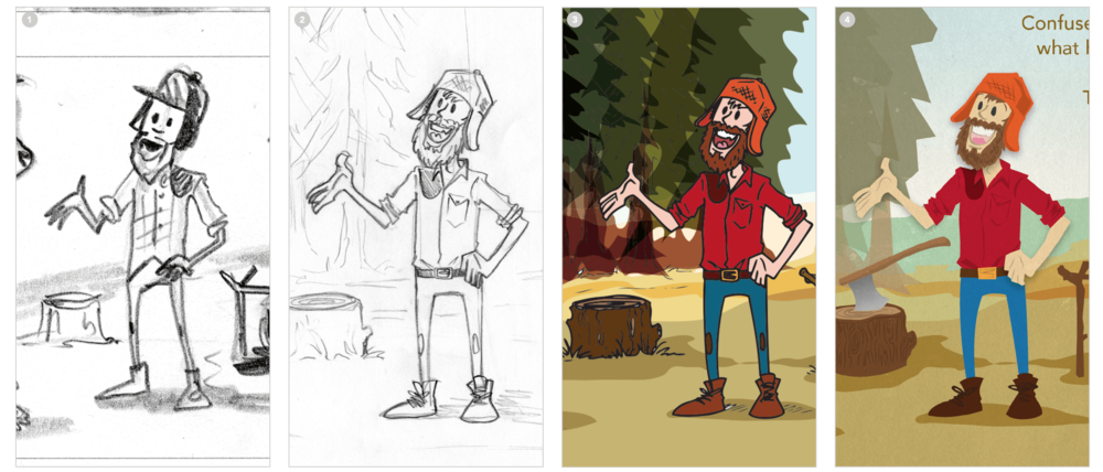 The art style progession, from sketch to final artwork.