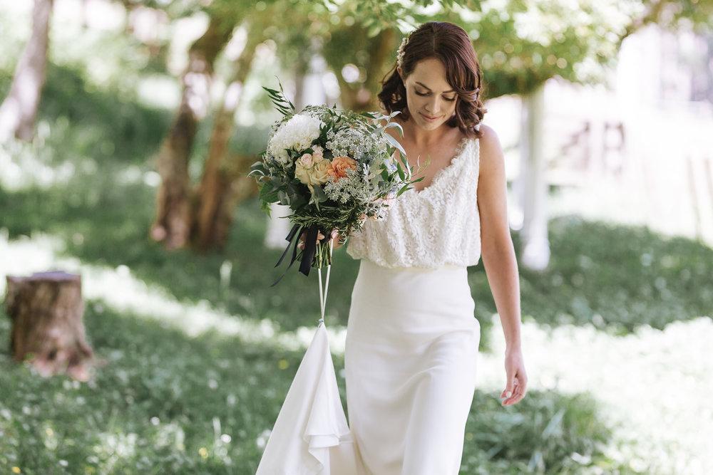 white blouson lace top wedding dress