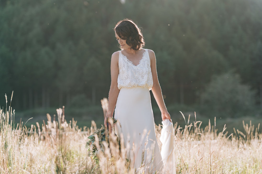 White blouson, bias cut wedding dress