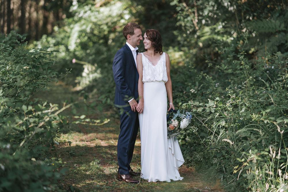 white, bias skirt, blouson lace top wedding dress