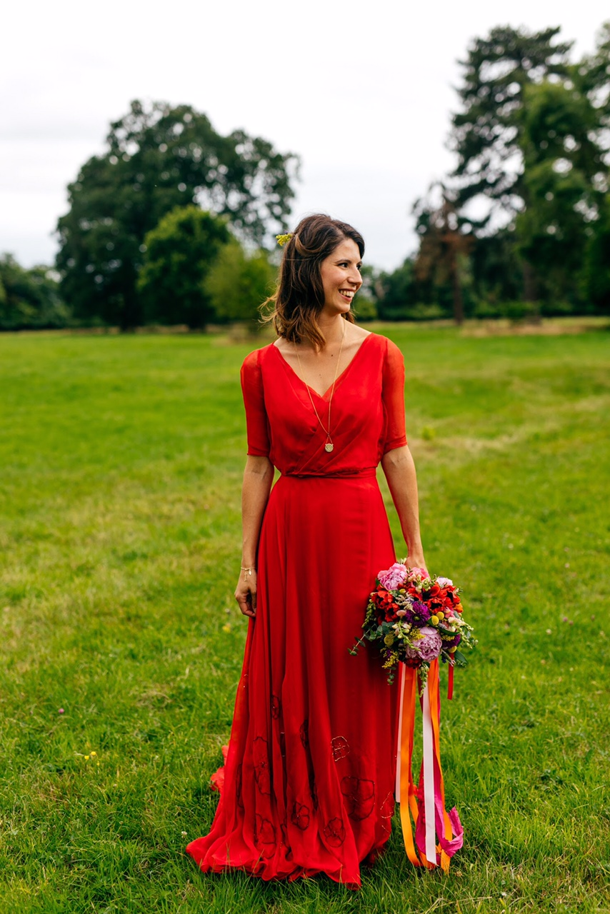 pretty red wedding wedding dress