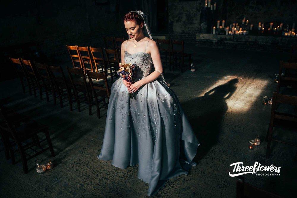 silver grey crystal crinoline pannier wedding dress