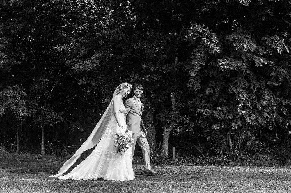 flowing white chiffon and lace wedding dress