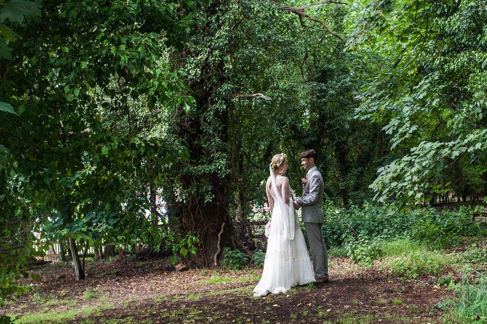 lace and chiffon white wedding dress