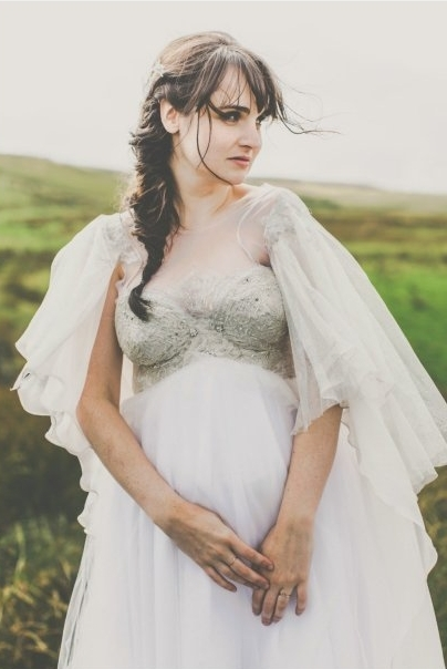 silver beaded tulle wedding dress