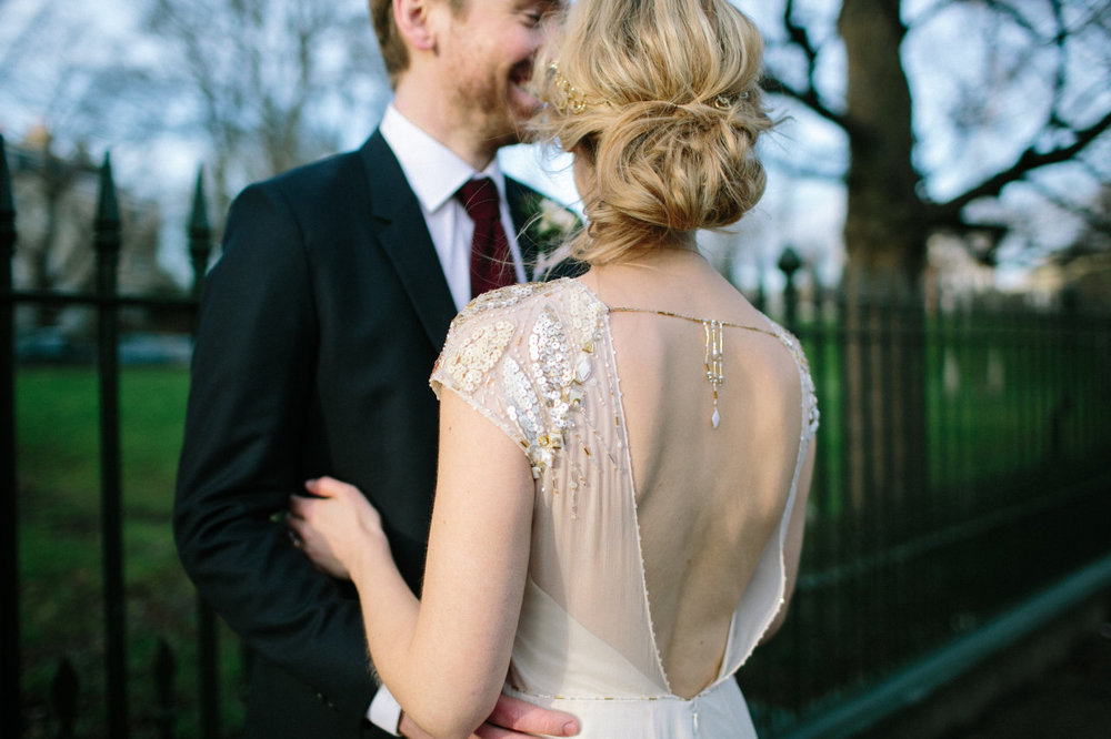 backless vintage wedding dress