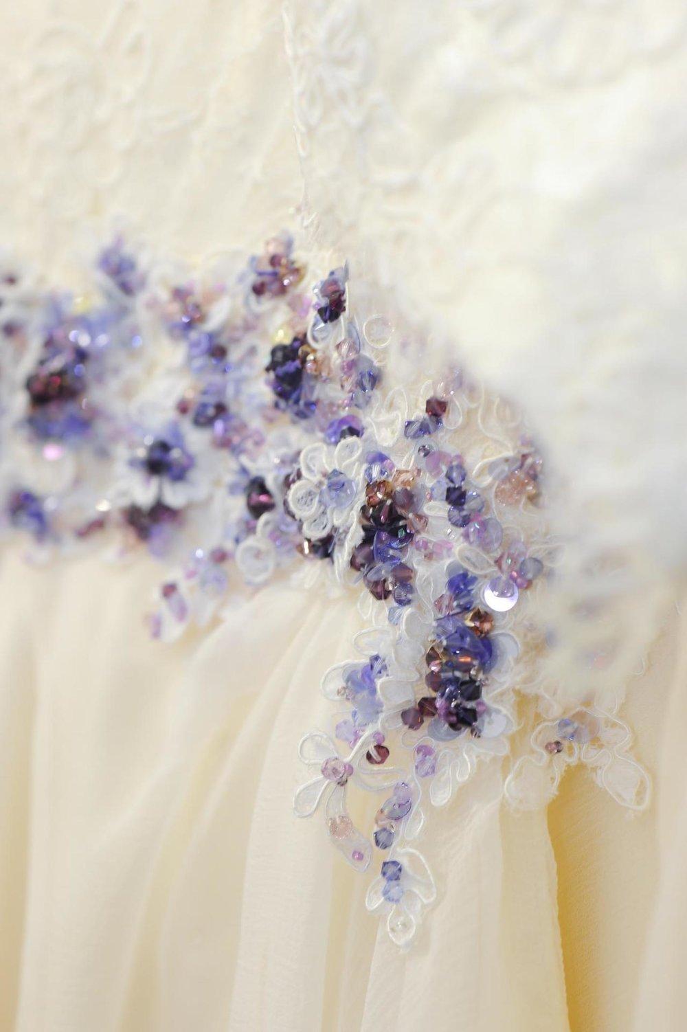 purple swarovski crystal wedding dress detail