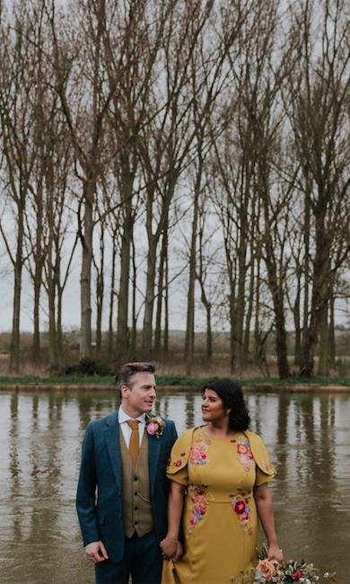 mustard Yellow pink floral indian wedding dress