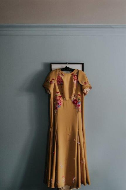 mustard Yellow floral indian wedding dress