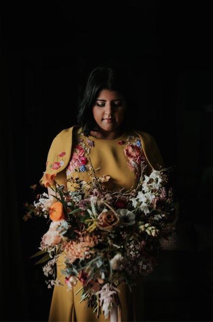 Yellow floral indian wedding dress