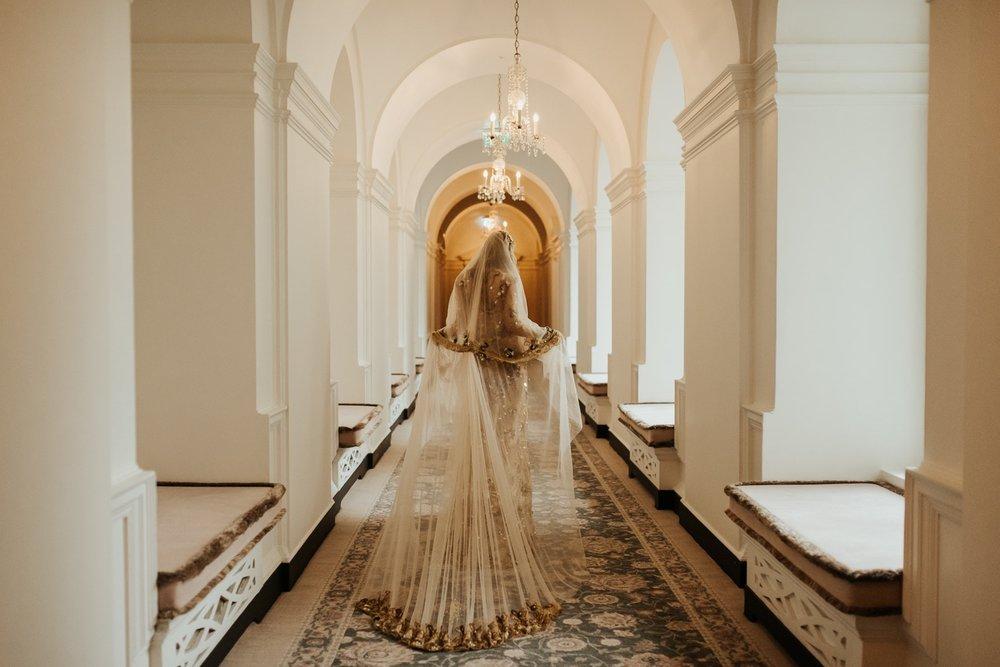 gold lace bridal veil