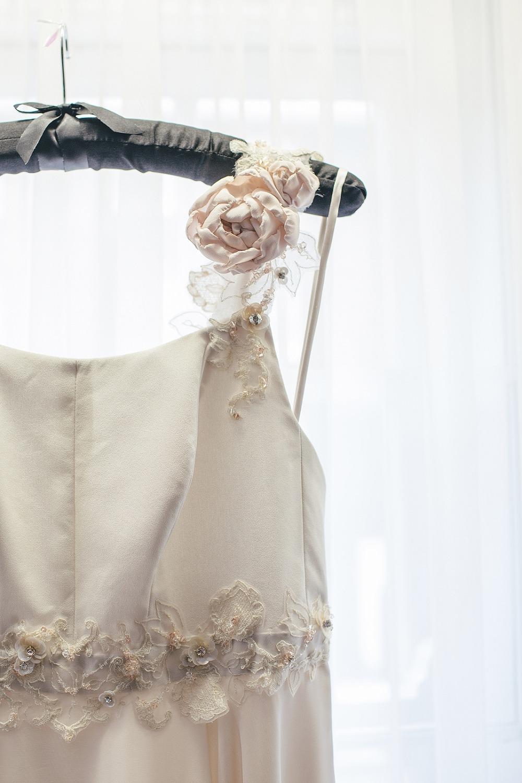 Blush wedding dress silk peony vintage lace