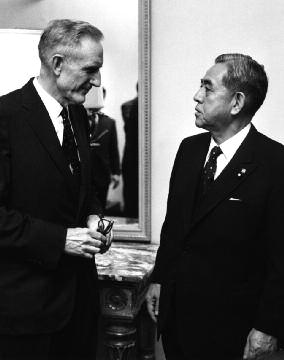 - John D. Rockefeller III with Prime Minister Eisaku Sato at the Japan Society in 1967