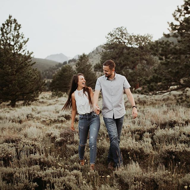 These two + Rocky Mountain National Park was a 14/10. We ran around the mountains until sunset for their engagements and it was way too much fun ✨✨🏔 - - - #californiaweddingphotographer #coloradoweddingphotographer  #hawaiiweddingphotographer #nebraskaweddingphotographer