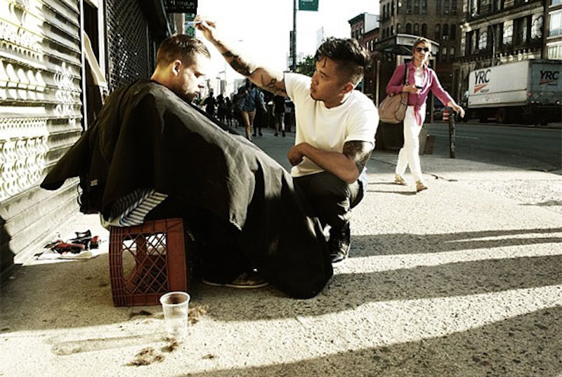 Every Sunday, Mark Bustos, a New York City hair stylist gives free haircuts to the homeless. Click the image to read the article