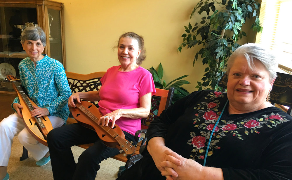 Three of David Schnaufer's students who regularly play today in the GODC: Judy, Carolyn and Nancy. Carolyn and her husband helped host the first meetings in their church almost twenty years ago.