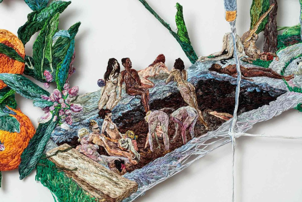 Sophia Narrett,  Stuck , 2016. Embroidery thread and fabric (detail). 62 x 38 inches. Courtesy of the artist.