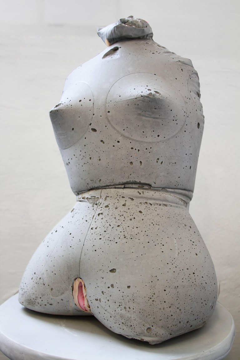 Bernadette Despujols,  Love Doll 6 , 2017. Concrete and latex. 24 x 12 x 11 inches. Courtesy of the artist.