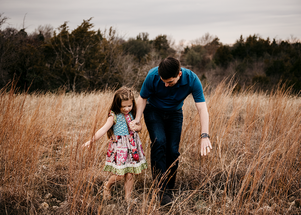And the adventures began as Dad helped Aria safely cross the scary woods.