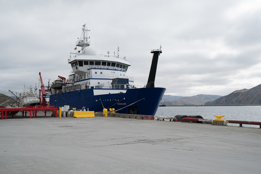 R/V  Sikuliaq  at the dock in Dutch Harbor. Photo credit: Andrew McDonnell