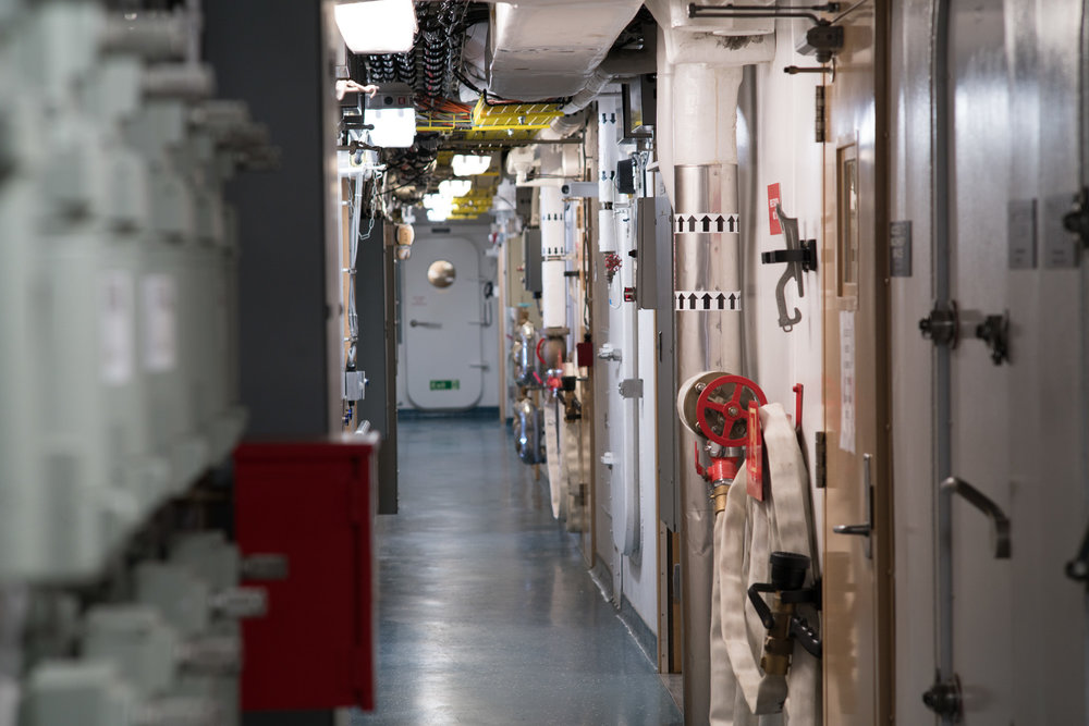 Quiet corridors of the R/V  Sikuliaq  main deck as we transited north with a skeleton science team. Photo credit: Andrew McDonnell