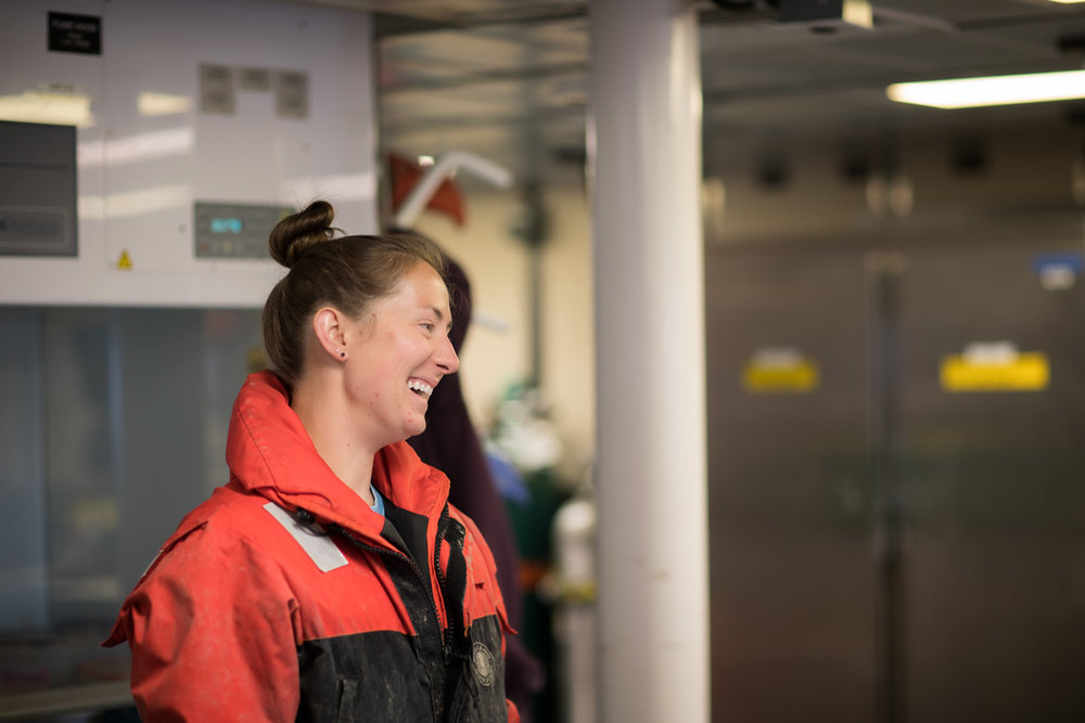 Portrait of Caitlin while she was joking with one of her fish team members.Photo credit: Brendan Smith