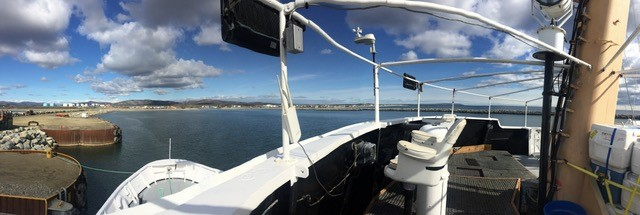 Aboard the R/V  Ocean Starr  at the dock in Nome. Photo credit: Alicia Flores