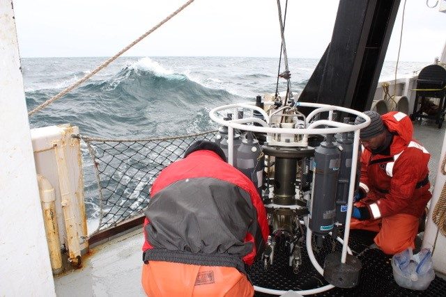 Ed Farley and Ryan McCabe retrieving samples from the CTD quickly during high seas. Photo credit:Alicia Flores