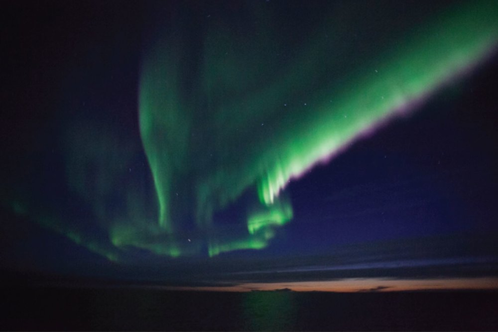 Northern lights above R/V Ocean Starr night of September 11th. Photo credit: Ryan McCabe